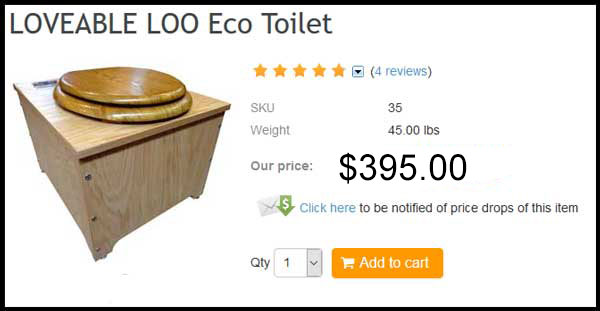 Loveable Loo® Sanitation System, the The Earth-Friendly Compost Toilet System: This is an eco-potty for permanent indoor (or outdoor) household use, office, bedroom, camping, shop, garage, barn, or emergency toilet use.